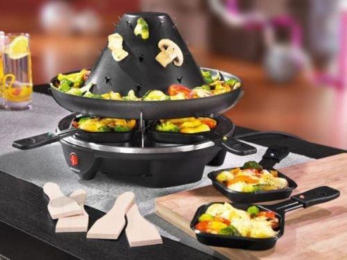 Tatarengrill, Tatarenhut, Elektrogrill, Raclette-Fondue-Kombination für 4 Personen 1200W mit 4 Pfännchen und 4 Holzspateln, Partyspaß, Grillspaß