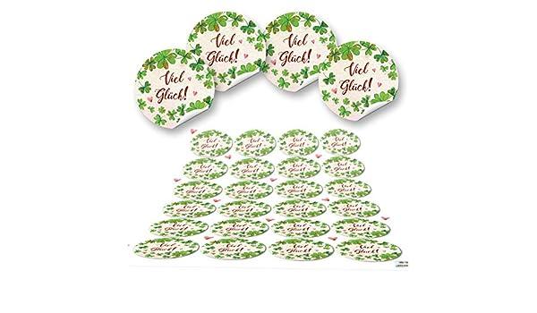 24 Kleeblatt VIEL GL/ÜCK rot gr/ün natur runde 4 cm Aufkleber selbstklebende Etiketten Geschenkaufkleber Verpackung Hochzeit Weihnachten Silvester