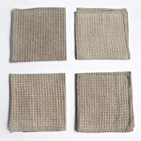 Waffelmuster Reinigungstücher Geschirrtücher 100% Leinen - 4-Pack 27 x 27cm Grau Bio-Flachs Kleine Antibakterielle Handtuch von Thingstories
