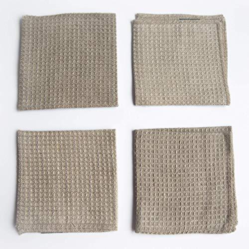 Antibakterielle Handtuch (Waffelmuster Reinigungstücher Geschirrtücher 100% Leinen - 4-Pack 27 x 27cm Grau Bio-Flachs Kleine Antibakterielle Handtuch von Thingstories)