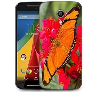 Snoogg Big Orange Butterfly Designer Protective Phone Back Case Cover For Motorola Moto G2