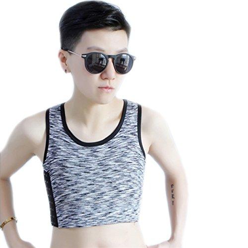 Lesbisch Kostüm - BaronHong Tomboy Trans Lesbische Baumwolle Brust Binder Plus Size Short Tank Top mit stärkeren Gummiband (LightGray, XL)