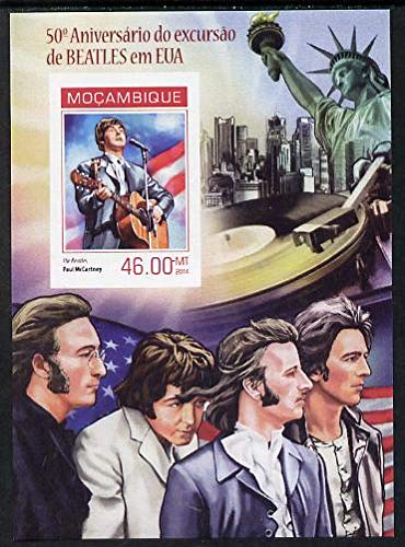 Mozambique 2014 50th Anniv of Beatles Trip to USA #1 imperf s/sheet u/m PERSONALITIES BEATLES POPS MUSIC ROCK AMERICANA STATUE OF LIBERTY JandRStamps -