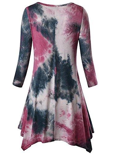 Damen Longshirt Rundhals Basic Bunt Print Vintage Sommer T Shirt  Sommerbluse Rot
