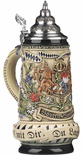 King Boccale da Birra tedesco Bavaria rusticale,stemma davanti, di lato Monaco di Baviera, Motto Dio con te, tu paese dei bavaresi 0,5 litri KI 393-RU 0,5L Bayern