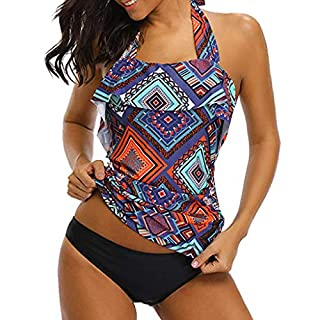 QingJiuWomen's Swimwear Color Print Split Swimsuits Retro Style Beachwear Surfwear Beach wear Bikini(Multicolor,2XL)