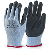 Pack of 10 Black Scaffolders Builders Gardening Rubber Latex Work Gloves Large - Comes With TCH Anti-Bacterial Pen!
