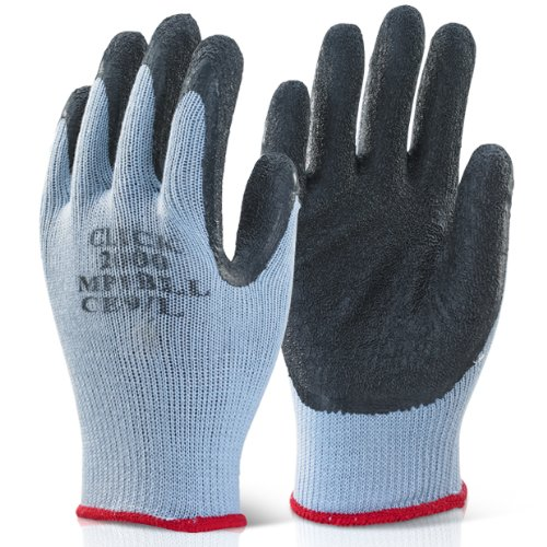 Pack of 10 Black Scaffolders Builders Gardening Rubber Latex Work Gloves Medium - Comes With TCH Anti-Bacterial Pen!