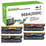 Aztech 4 Pack Kompatibel für HP 508A 508X CF360X CF361X CF362X CF363X Toner für HP Color Laserjet Enterprise M553N M553DN M552DN MFP M577 M553 M557 M553X M577F HP M552 Toner
