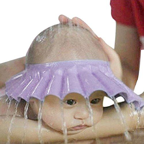 Culater® Kinder Baby Verstellbarer Shampoo Schutz Duschhaube Duschkappe Badekappe Ohrschutz Mütze Bath Shower Cap neu (lila)
