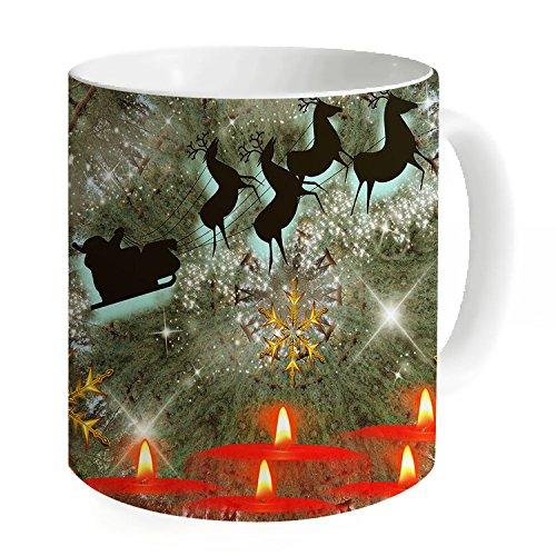okoukiu Natale candela luce Mug-Tazza da tè personalizzato regalo per