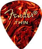 Fender 351 Shape Classic Thin Celluloid Plektren 12 Pack Shell für E-Gitarre, Akustikgitarre, Mandoline, Bass