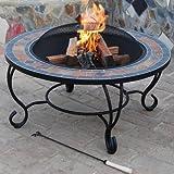 Trueshopping Villa Beacon Fire Pit (89cm) y mesa de café (pizarra natural Top) incluye fuego cuenco, barbacoa, protectora para chimenea, atizador y tapa para el mal tiempo