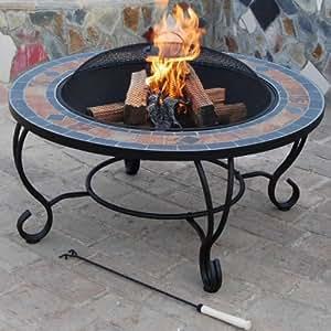 trueshopping villa beacon table basse en ardoise naturelle avec foyer grille de barbecue grille. Black Bedroom Furniture Sets. Home Design Ideas