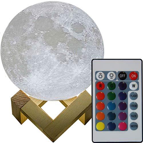 3D Mond Lampe 20cm mit Fernbedienung erhältlich in zwei verschiedenen Durchmesser (15 oder 20cm) Mondlampe Mondleuchte, 16 Farben, dimmbar, viele Funktionen, deutsche Bedienungsanleitung. (Hölzerne Lampe)