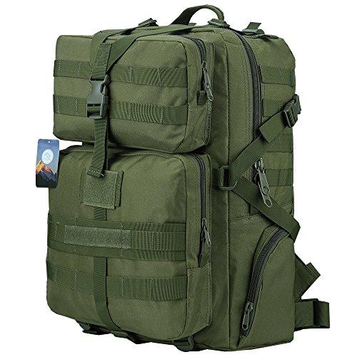 Hukoer 45l militare tattico zaino,sacchetto solido per il campeggio esterno/trekking/viaggi escursioni(verde militare)