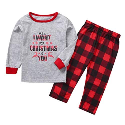 Weihnachten Rundhals Pullover Casual Schlafoverall Familien Outfit Pyjama Mutter Vater Kind Baumwolle Soft Elegant Elch Cartoon Kleidung Tops und Kariert Hose Sweater Kinder Pulli Kleidung Set