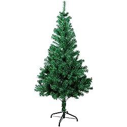 SunJas Árbol de Navidad Artificial Árbol Espeso y Lujo Verde/Blanco/Nevado con Copos de Nieve Blancos y Piñones de Pino Soporte Metálico Árboles 120cm-210cm (200-700RAMAS)