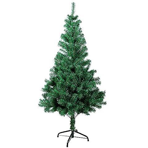 SunJas Grün 120 cm grüne Weihnachtsbaum, künstlicher Weihnachtsbaum, schwer entflammbar und Kunsttanne mit Metallständer, hochwertiger Christbaum, grüne Tannenbaum, Material PVC, Klappsystem