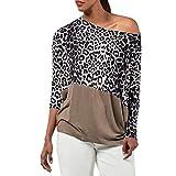 TianWlio Weihnachten Pullover Langarmshirt Bluse Hoodie Frauen Herbst Winter Leopardenmuster Lässige Cold Schulterhemd Langarm Top Bluse (S, Khaki)
