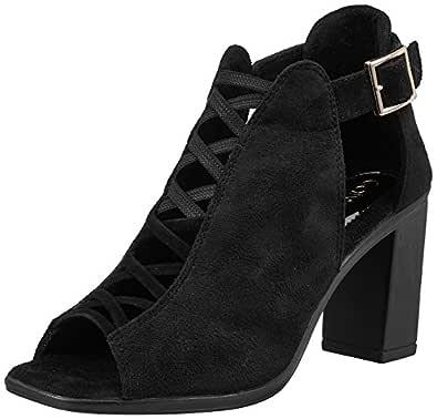 Catwalk Women's Peep Toe Criss Cross Booties - 4 UK/India (36 EU) (2219C-4) Black