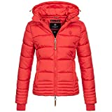 Marikoo Damen Jacke Parka Steppjacke Übergangsjacke Parka Daunen Look gesteppt Kapuze Sole XS-XXL 9-Farben, Farbe:Rot, Größe:L / 40