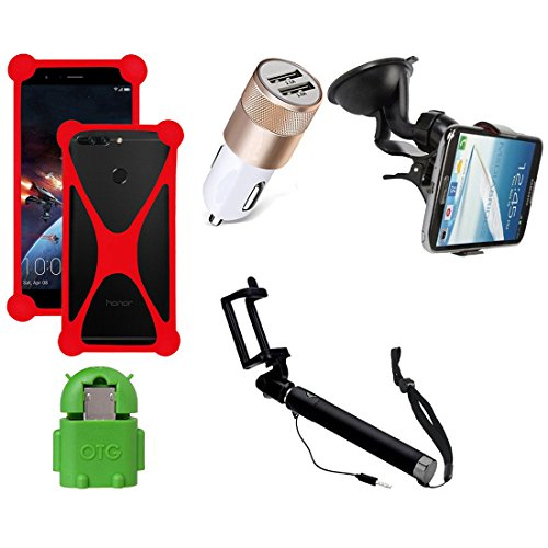 Casotec 5 in 1 Combo offer Car Mount Holder / Mobile Cover / Selfie Stick Monopod / Car Charger / OTG for Xiaomi Redmi 4A