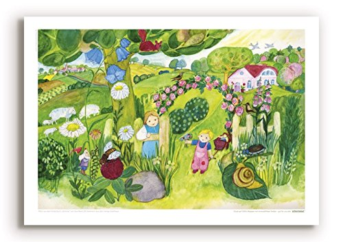 Preisvergleich Produktbild Poster für Kinder von Eva M Ott-Heidmann - Blumenpracht am Gartentor - aus dem schnurverlag