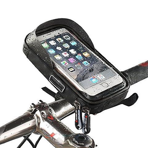 Universal wasserdichte Fahrradhalterung Telefonhalter Fahrradrahmen Tasche Fahrrad Fahrrad Handy Lenker Tasche Tasche 360 Grad drehbar für Smartphones GPS und andere kompatible Geräte für Apple, Samsung, Google, Huawei, LG, Motorola, Android Smartphone