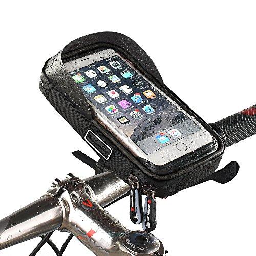 Universal wasserdichte Fahrradhalterung Telefonhalter Fahrradrahmen Tasche Fahrrad Fahrrad Handy Lenker Tasche Tasche 360 Grad drehbar für Smartphones GPS und andere kompatible Geräte für Apple, Samsung, Google, Huawei, LG, Motorola, Android Smartphone (Schwarz)