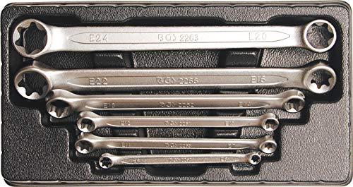 BGS 2268 Doppel-Ringschlüsselsatz für E-Profil-Außenschrauben, E6xE8-E20 xE24, 6-tlg.