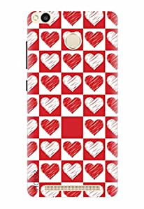 Noise Printed Back Cover Case for Redmi 3S Prime / 3s Plus Designer Case cover / Patterns & Ethnic / Red and white hearts Design - By Noise