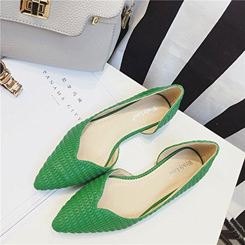 WYMBS Le cadeau le plus intime La nouvelle télécabine côté plat vide avec lumière tressé unique port chaussures femmes Green