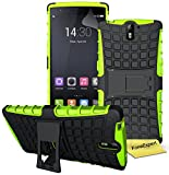 OnePlus One Handy Tasche, FoneExpert® Hülle Abdeckung Cover schutzhülle Tough Strong Rugged Shock Proof Heavy Duty Case für OnePlus One + Displayschutzfolie (Grün)