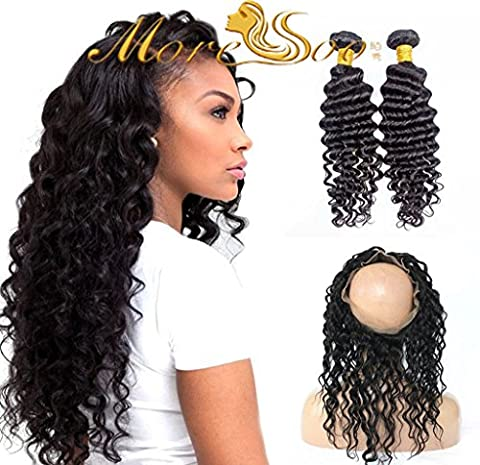 "Moresoo 130% Densite 360 Lace Frontal with 2 Bundles Deep Wave Humains Brésiliens Dentelle Frontal 360 Elastic Band Perruque Remy Humain de Cheveux Tissage Remy Bresilien Vierge Hair(22"" 24""+14"")"