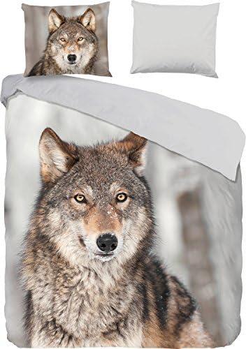 good good good morning Parure de lit réversible en flanelle gris de marron 155 x 220 cm (80 x 80 cm) ddde16