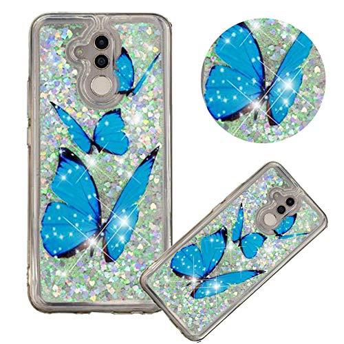 Glitzer Hülle für Huawei Mate 20 Lite,Flüssigkeit Silikon HandyHülle für Huawei Mate 20 Lite,Moiky Luxuriös Mode Blau Schmetterling Muster Liebe Herzen Treibsand Diamant Weich Gummi Hülle - Lite Cart