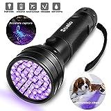 Stialo - Linterna ultravioleta con luz negra para detección de orina, luz UV, suministros para mascotas, perros, gatos, luz ultravioleta de escorpión, chincheta, buscador de manchas 51 LED Mini 395 nm