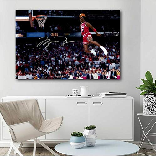 ZKPWLHS Leinwanddrucke 1 Stücke Basketball Poster Michael Jordan Fliegen Dunk Bild Leinwanddruck Wandkunst Dekoration (60X90) Kein Rahmen (Fliegen Jordan)