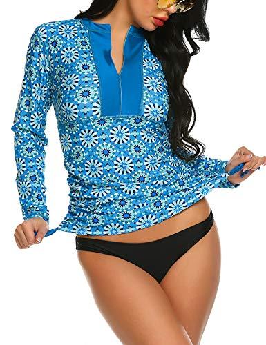 Balancora Damen Bademode Tankini Rash Guard UV-Schutz Reißverschluss Langarm Shirt Slim-Fit Surf Shirt Kordelzug Badeshirts UPF 50+