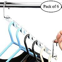 H&S 6pcs Wardrobe Clothes Wonder Hanger Hooks Organiser Magic Closet Clothing Organiser Hanging Hangers Metal (Pack of 6)