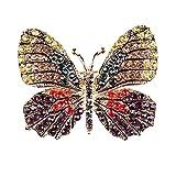 MoGist Broche Jolie Mode Papillon Strass Brooch Aiguille de Sécurité Décoration Brooch Cadeau Bijoux Insigne Fantaisie