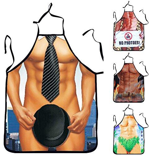 Lustige Grillschürze, sexy Männerschürzen, Kochen, Backen, Töpferei und Grillschürzen, Unterhaltungsparty, Cosplay-Kostüm, Geschenk für Unisex Erwachsene, 4# Hat, 72 * - Muskel Mann Kostüm