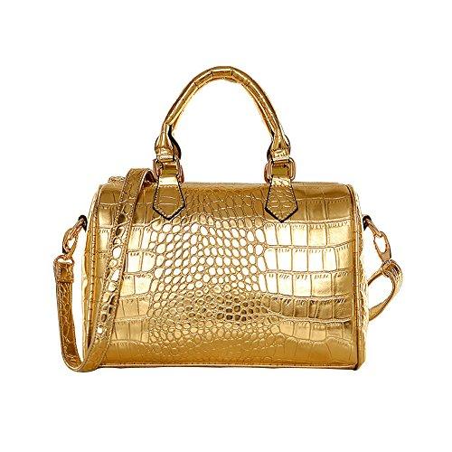 Molly Elegante Donne Coccodrillo Modello PU Borsetta Composito Borse Oro