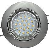 10 Stück | SMD LED Einbaustrahler Fabian | Edelstahl geb. | Schwenkbar | 12Volt | 3Watt | Warmweiß | Trafo notwendig
