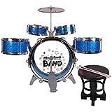 E Support™ Wundervolle Jazz Rocker Musikinstrument Schlagzeug Die besten Geschenke für Kinder mit 5 Drums Stuhl Beckentrommelstöcke Blau