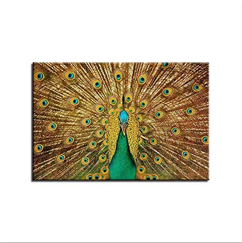GEIWONIDEAI DIY Holzrahmen Ölgemälde Malen Nach Zahlen Malset, Leinwand Malen Nach Zahlen Kits Wand Art Prints, Home Haus Dekor Wandbild, Pfau Öffnen, 60X90Cm (Pfau Dekor Bad)
