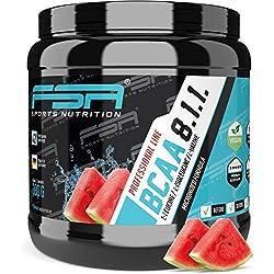 BCAA 8:1:1 Pulver mit essentiellen Aminosäuren, Vegan und ohne Dextrose/Maltodextrin, Low Carb, 300 g - von der Profisport-Marke FSA Nutrition, Hergestellt in Deutschland | Wassermelone