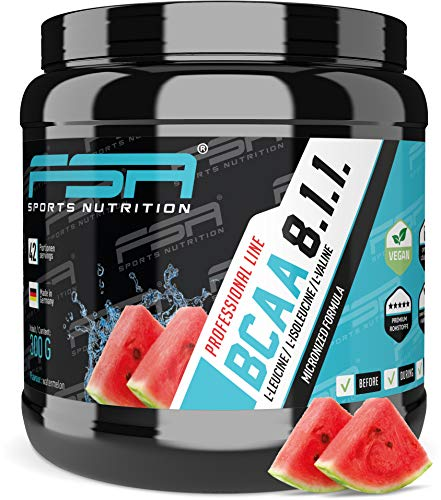 BCAA 8:1:1 Pulver, Low Carb ohne Dextrose, Vegan, Made in Germany - FSA Nutrition - 300 g - Watermelon