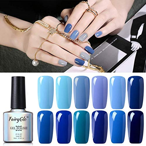 UV Nagellack Gel Shellac Set Nail Polish Set Soak Off UV LED Gel Blau Farbe von Fairyglo (12xStück 10ml)